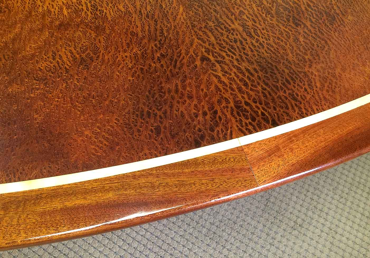 Boardrooms and Reception Desks in Walnut burr or Birds-eye maple