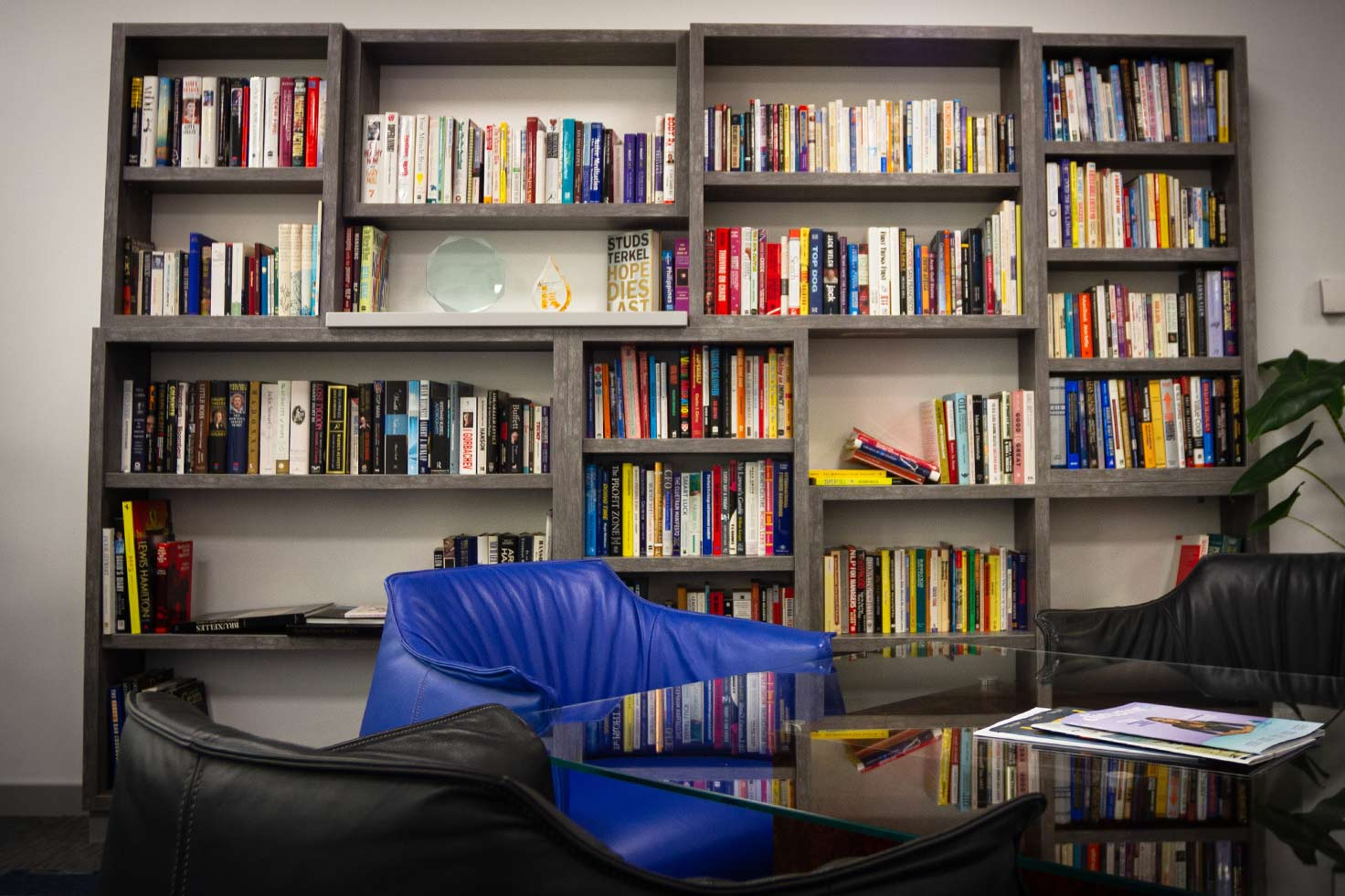Stunning custom bookcase at Clyde Blowers Capital Ltd - Designed and Installed by Jack Hyams