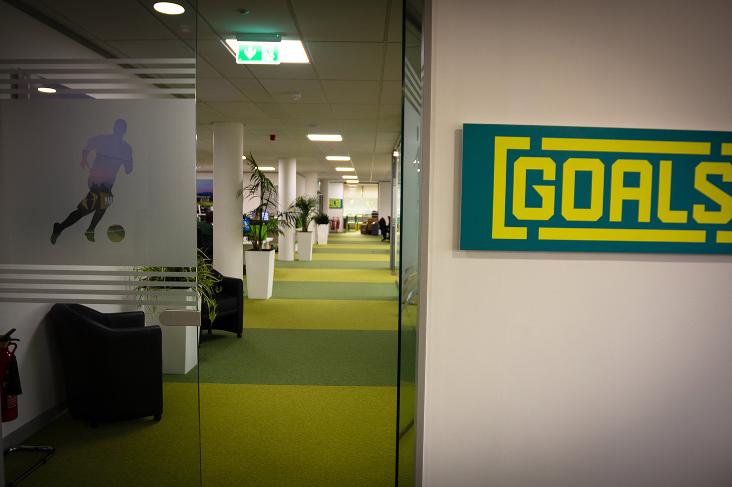 Goals offices at Clyde Blowers Capital Ltd - Designed and Installed by Jack Hyams