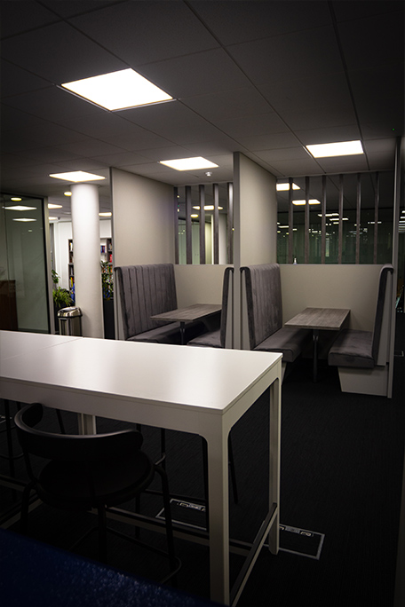 Custom furniture and seating area at Clyde Blowers Capital Ltd - Designed and Installed by Jack Hyams