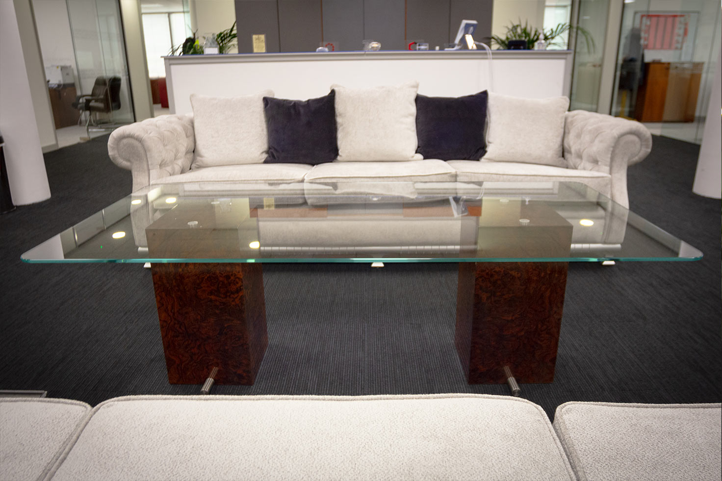 Custom glass table at Clyde Blowers Capital Ltd - Designed and Installed by Jack Hyams