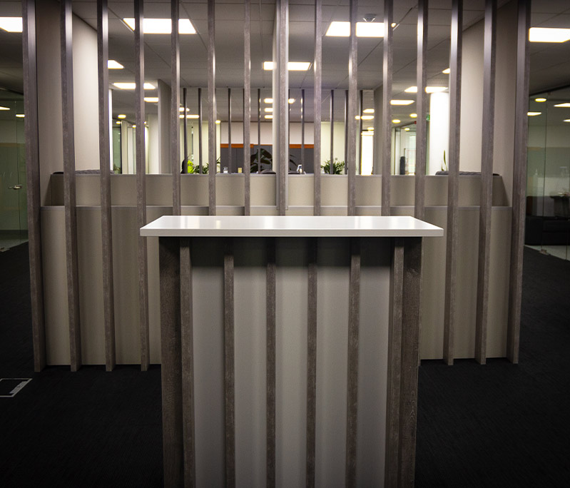 Bespoke standing table at Clyde Blowers Capital Ltd - Designed and Installed by Jack Hyams