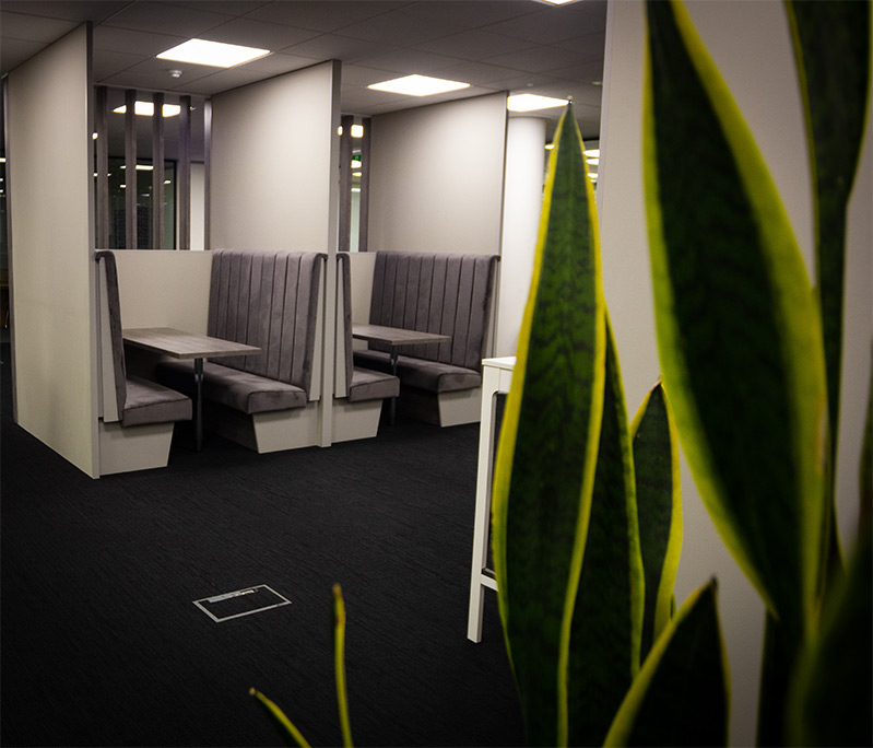 Seating area at Clyde Blowers Capital Ltd - Designed and Installed by Jack Hyams